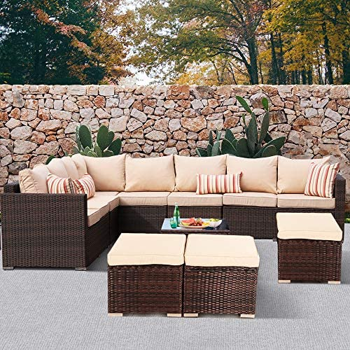 Leaptime Outdoor Furniture Patio Conversation Set Garden Seating Outside Couch Brown PE Wicker 9-Piece Khaki