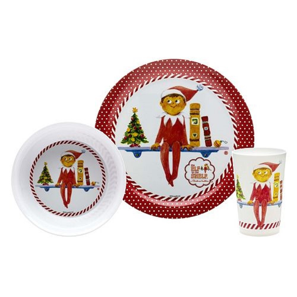 Amazon.com | The Elf On the Shelf Kid\u0027s 3-pc. Melamine Dinnerware Set by Zak Designs Dinner Plates  sc 1 st  Amazon.com & Amazon.com | The Elf On the Shelf Kid\u0027s 3-pc. Melamine Dinnerware ...