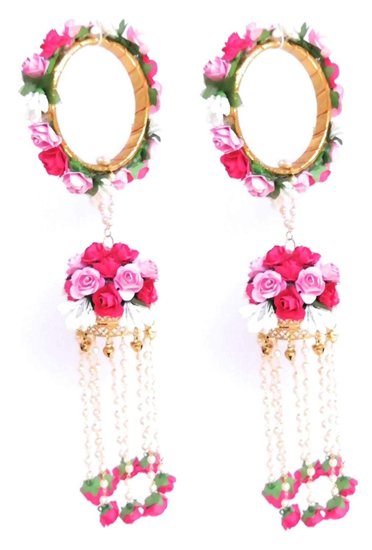 Kalera in Pink Flowers for Women and Girls Bridal Haldi