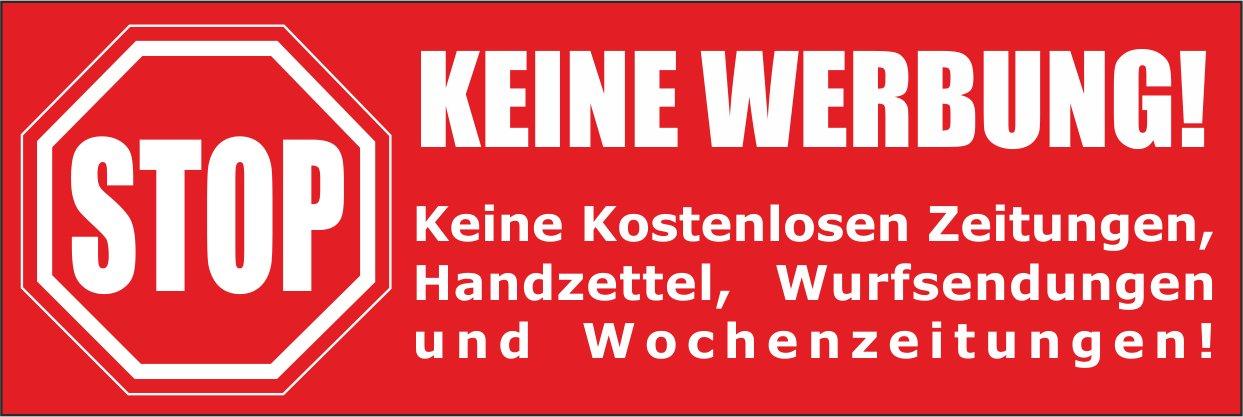 2 Briefkastenaufkleber Keine Werbung Keine kostenlosen Zeitungen Wurfsendungen und Wochenzeitungen! Absolut wetterbest/ändig 74x52 mm Handzettel