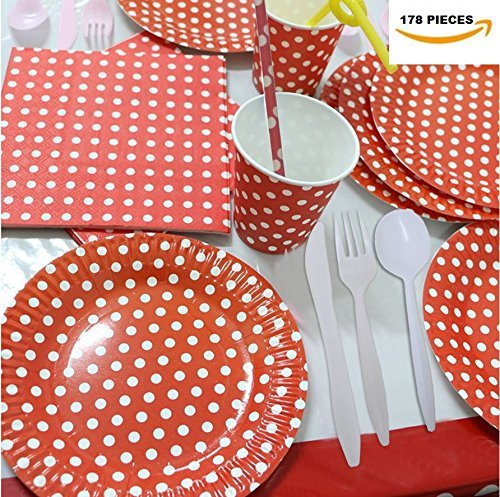 (Party Combo Pack Red and White Polka Dot Paper Set For 16 Guest, 178 Pieces.Includes 32 Forks,16 Spoons, 16 Knives, 16 9