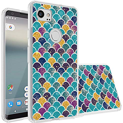 Topnow Google Pixel 2 XL Case, [Anti-Scratch PC + Shockproof Anti-Drop Soft TPU] Advanced Printing Pattern Phone Cases Glossy Drawing Design Cover for Google Pixel 2 XL(Fish Scale)