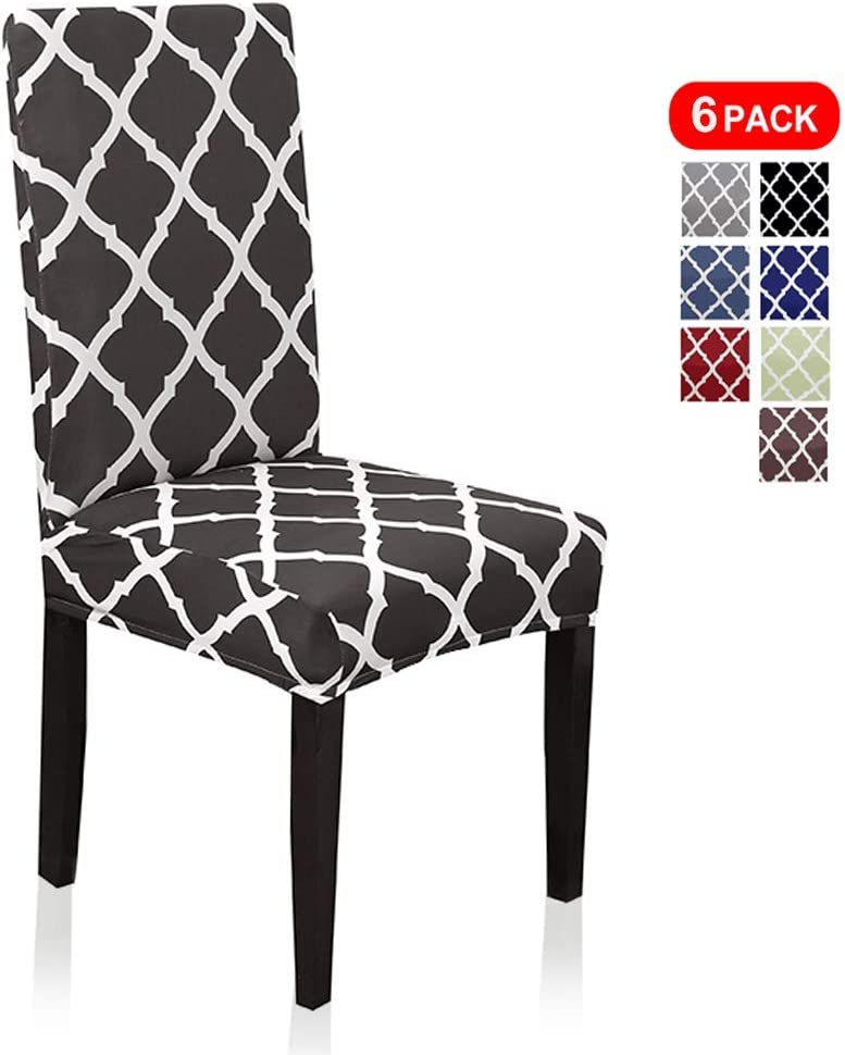 Stretch Dining Chair Slipcovers, Geometric Print Dining Chair Covers, Removable Washable Spandex Furniture Seat Protector for Kitchen Room Hotel Table Banquet (6 Per Set, Black)