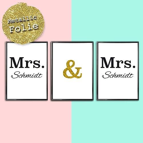Personalisiertes Bild 3er Set Mrs Mrs Lesbische Hochzeit