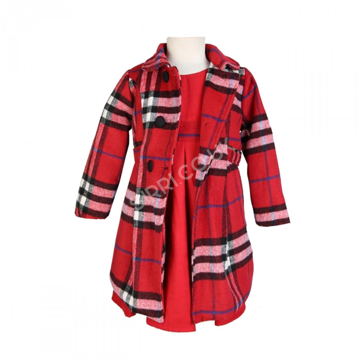 Girls Winter Coats with Dress - Grey, Navy, Red