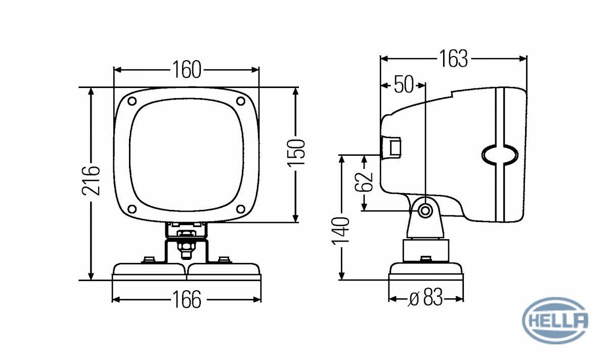 HELLA 1GA 996 142-061 Arbeitsscheinwerfer 200 Xenon f/ür weitreichende Ausleuchtung 12V Anbau// Stecker//AMP-Anschluss