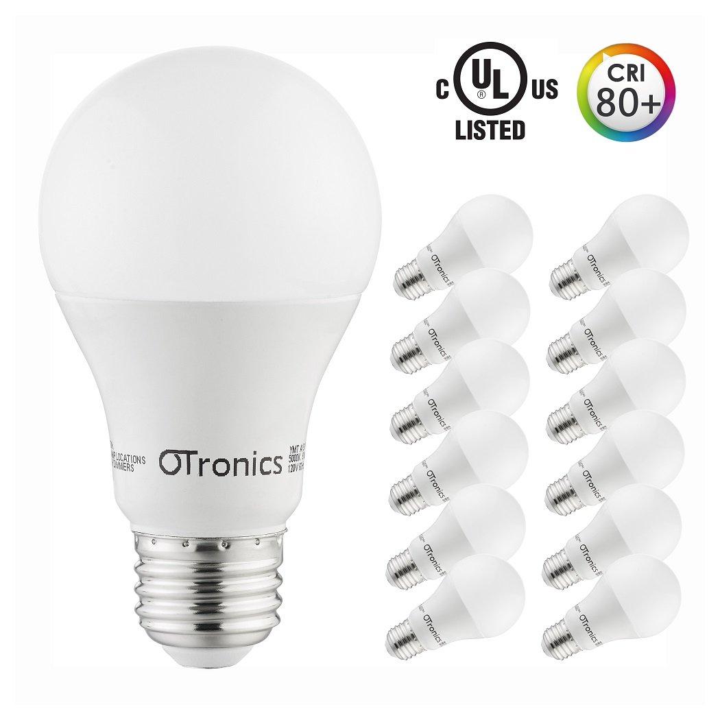 Otronics 9W LED Light Bulb A19,Non-Dimmable LED Bulb [65W Equivalent], 5000K (Daylight Glow), 810 Lumens, Medium Screw Base(E26), UL-Listed(pakc of 12)