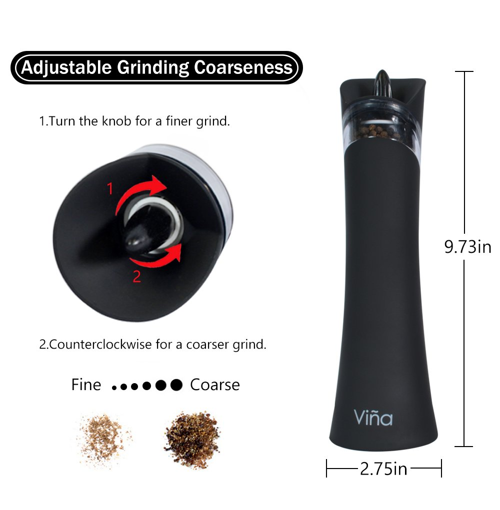 Vina Electric Gravity Salt Pepper Grinder Set, Adjustable Grinding Coarseness Automatic Shaker Mills with Ceramic Core, Free Garlic Roller Included, Pack of 2, Black