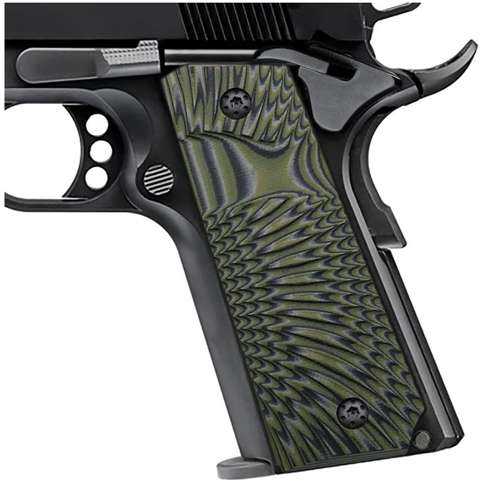 Cool Hand 1911 Full Size G10 Slim Grips, 3/16'' Thin, Big Scoop, Ambi Safety Cut, Sunburst Texture, Brand, OD Green/Black, HH1S-J6S-21 by Cool Hand