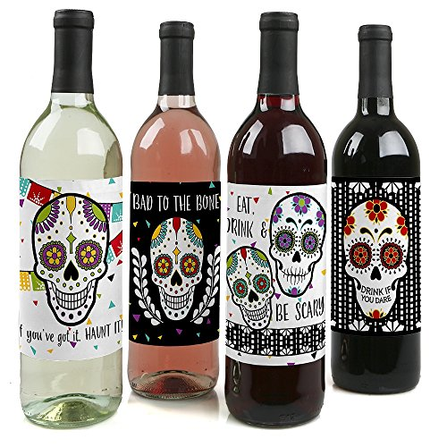 Day Of The Dead - Halloween Sugar Skull Decorations for Women and Men - Wine Bottle Label Stickers - Set of 4 -