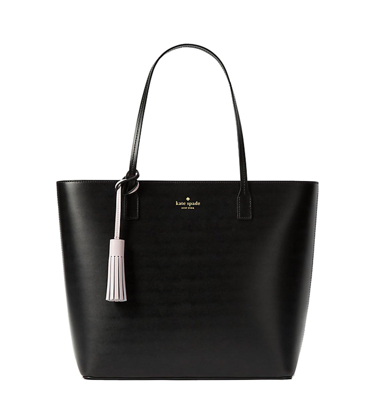 Kate Spade New York Wright Place KARLA Shoulder Leather Handbag Black (w/Plum Dawn Tassle)