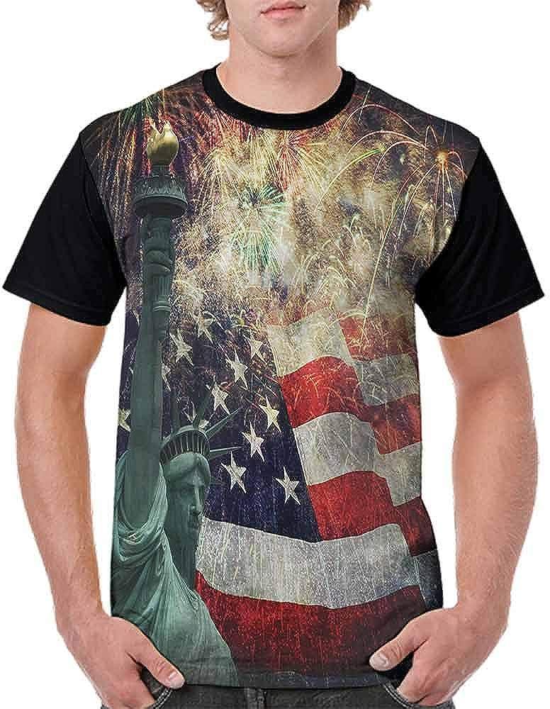 BlountDecor Loose T Shirt,Fireworks 4th of July Fashion Personality Customization