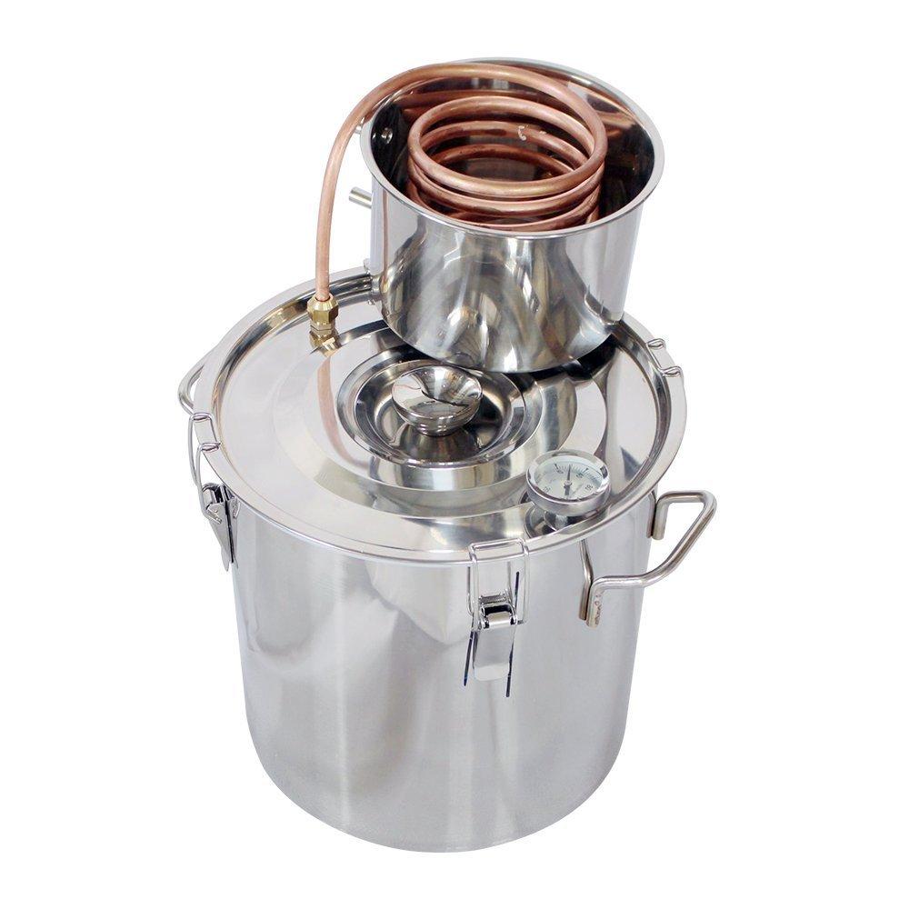 ECO-WORTHY 5 Gal 18L Wine Making System Alcohol Distiller Moonshine Still Spirits Kit Water Copper Tube Boiler Home Brewing