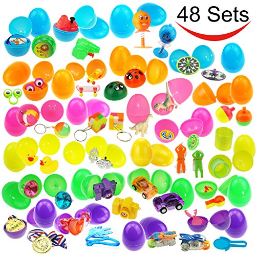 JOYIN 48 Toys Filled Surprise Eggs, 2.5 Inches Bright Colorful Prefilled Plastic Surprise Eggs with 24 kinds of Popular Toys by JOYIN
