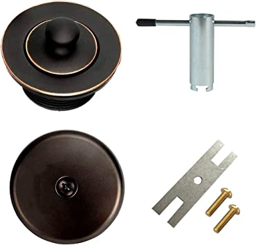 All Brass Construction Lift and Turn Twist Bathtub Tub Drain Conversion Kit Assembly Brushed Nickel