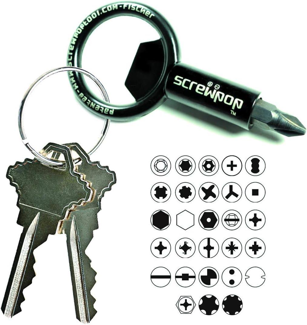 EDC Mini Utility Key Shape Ring Pocket Opener Screwdriver Keychain Kit EDC Tool