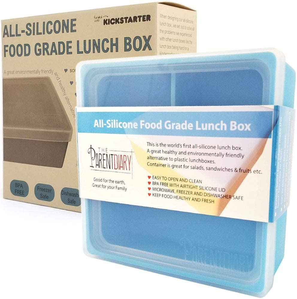 Eco Lunch box for Kids and Adults | All Silicone Lunch Containers with Dividers | Kids lunch container | Microwave, Dishwasher and Freezer Safe | The Parent Diary (Blue, Three Compartment)