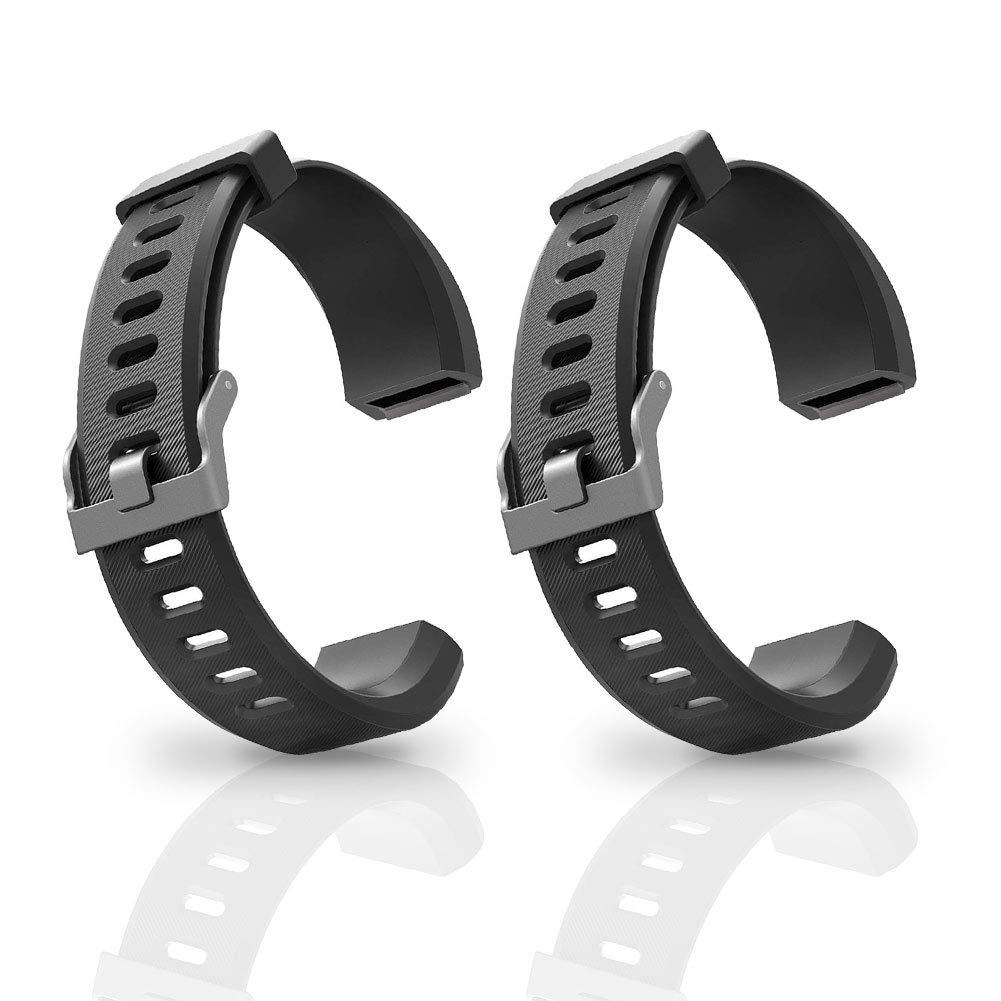 Aneken Replacement Band ID115Plus HR Adjustable Strap for Smart Bracelet Fitness Tracker, 2 Pack (Black) by Aneken
