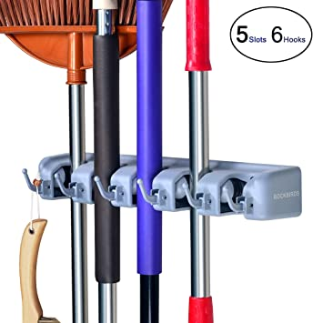 with 3Hooks and 46Quick Release for Mop Broom and Garden Tools etc. with 3Hooks and 46Quick Release for Mop Broom and Garden Tools etc Broom Mop Holder Wall Mount 5Magazine Wall Bracket Rake Garage Organization Storage