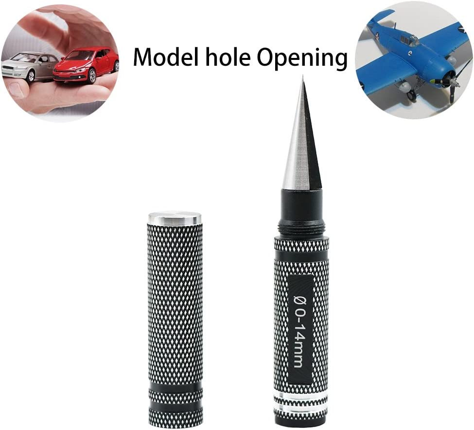 Auoon 0-14 MM Expanding Hole Opener Reamer Driver, Alloy Steel Reamer Drill Tool for RC Car Helicopter, Truck, Car and Ship Model, Professional Hobby DIY Tool, Black