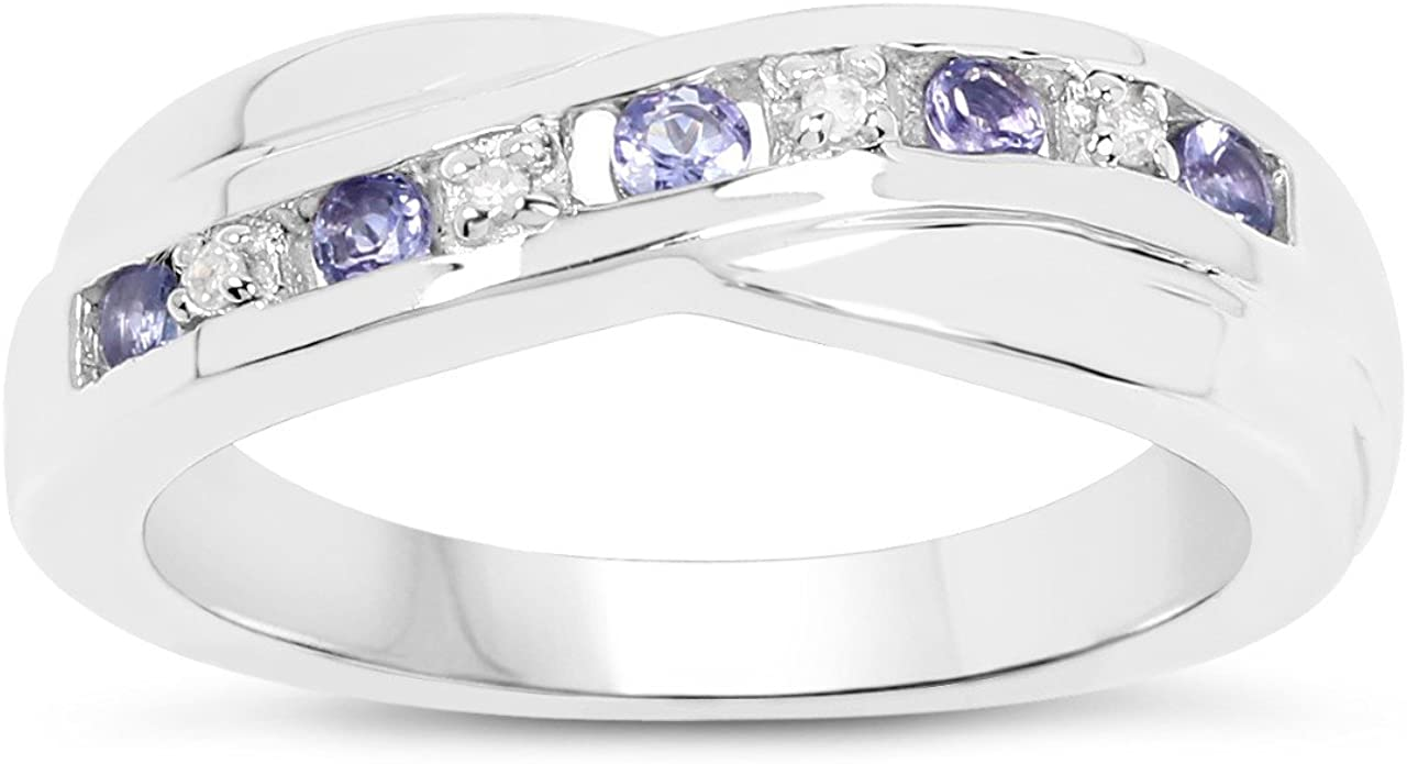 La Colección de Anillo Diamantes: Anillo Oro Blanco 9ct Oro blanco Tanzanita con set de Diamantes, Anillo Eternidad Perfecto para regalo Anillo Aniversario Tallas 10,11,12,13,15,16,17,19,20,21,22,24