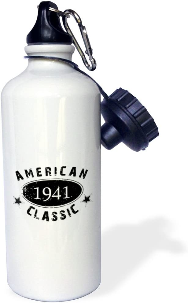 21 oz White 3dRose wb/_161755/_11941 American Classic-Personalized Birth Year Birthday gift-black grunge vintage look-funny Sports Water Bottle