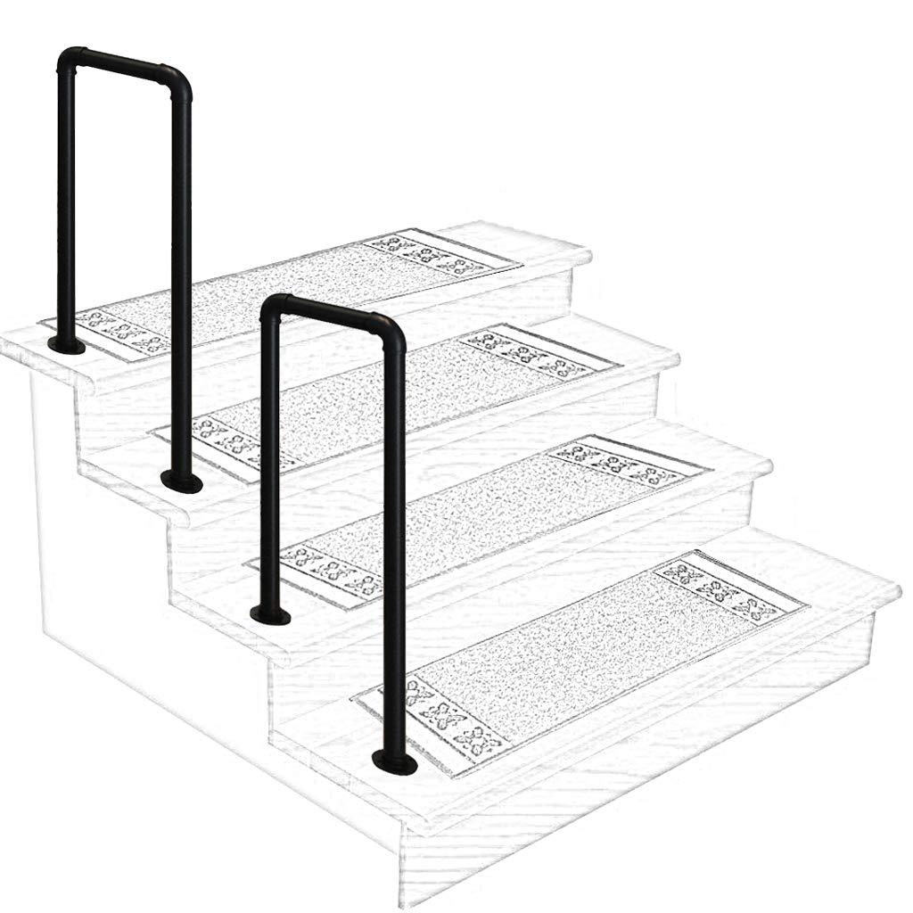 ZzJj Mattschwarz Handl/äufe U -Gel/änder Komplettset schmiedeeiserne Balustrade mit verzinktem Rohr f/ür den /Übergang auf halbem Weg f/ür Au/ßen- oder Innentreppen Retro-Gel/änder-Dachzaun