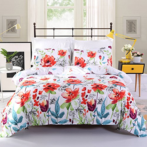 DECMAY Flower Duvet Cover Set, Floral Boho Hotel Bedding Sets Comforter Cover with Soft Lightweight Microfiber 1 Duvet Cover and 2 Pillowcases, Queen Size