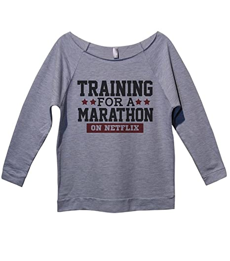 """Cute Raglan Sudaderas–para una maratón de Capacitación sobre Netflix """"Funny royaltee Camisas, Gris Heather, Pequeño"""