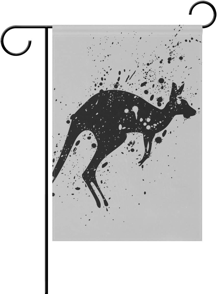 imobaby Wild Animal Kangaroo Polyester Garden Flag Banner 12 x 18 Inch, Seasonal Garden Flag for Outdoors Decorative Flag for Wedding,T851