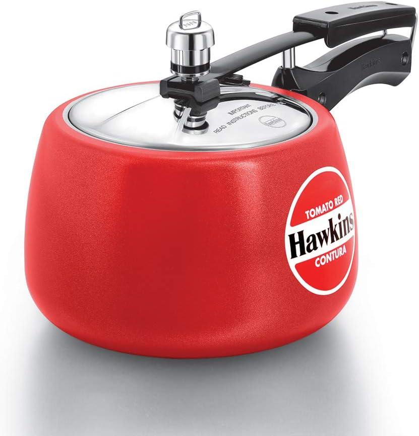 Hawkins Ceramic CTR 30 Coated Contura Pressure Cooker, 3 L, Red