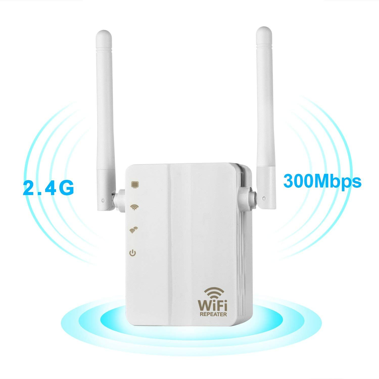WiFi Range Extender, 300Mbps Fast Speed WiFi Booster Wireless Repeater with High Gain Dual External Antennas and 360 degree WiFi Coverage OfficeLead