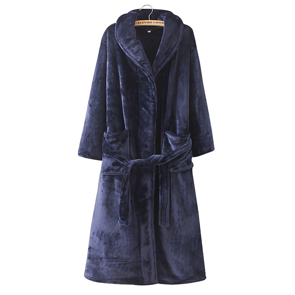Cahayi Women Men Bathrobe Long Thick Plush Coral Fleece Robe Plus Size Winter CABR001