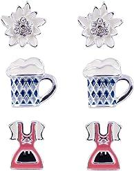SIX Damenohrringe, 3er Set, Ohrstecker, Dirndl, Bierkrug, Edelweiss, Strasssteine, Oktoberfest, silber, rosa, blau, weiss (776-720)
