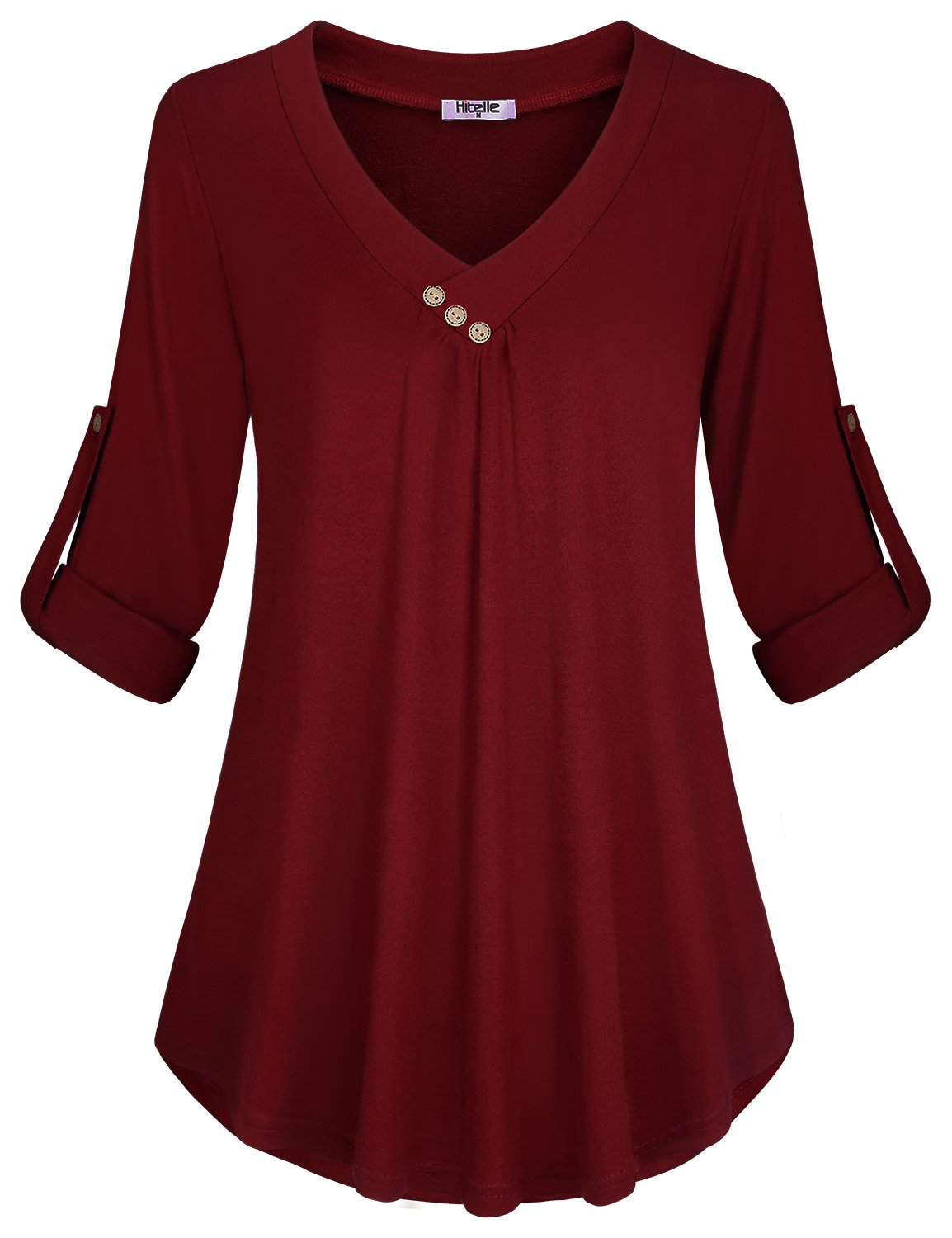 Hibelle Blouses Women Plus Size, Burgundy Pregnant Relaxed Fit Flare Flowy Tops Cross V-Neck Cuffed Sleeve Henley A Line Swing Casual Daily Work Shirts Tunics Wine Red XX Large