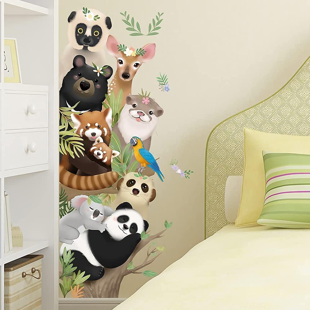 Supzone Jungle Animal Wall Decal Cartoon Forest Animals Wall Stickers Monkey Koala Deer Wall Decor DIY Vinyl Mural Art for Kids Baby Nursery Bedroom Living Room Playroom