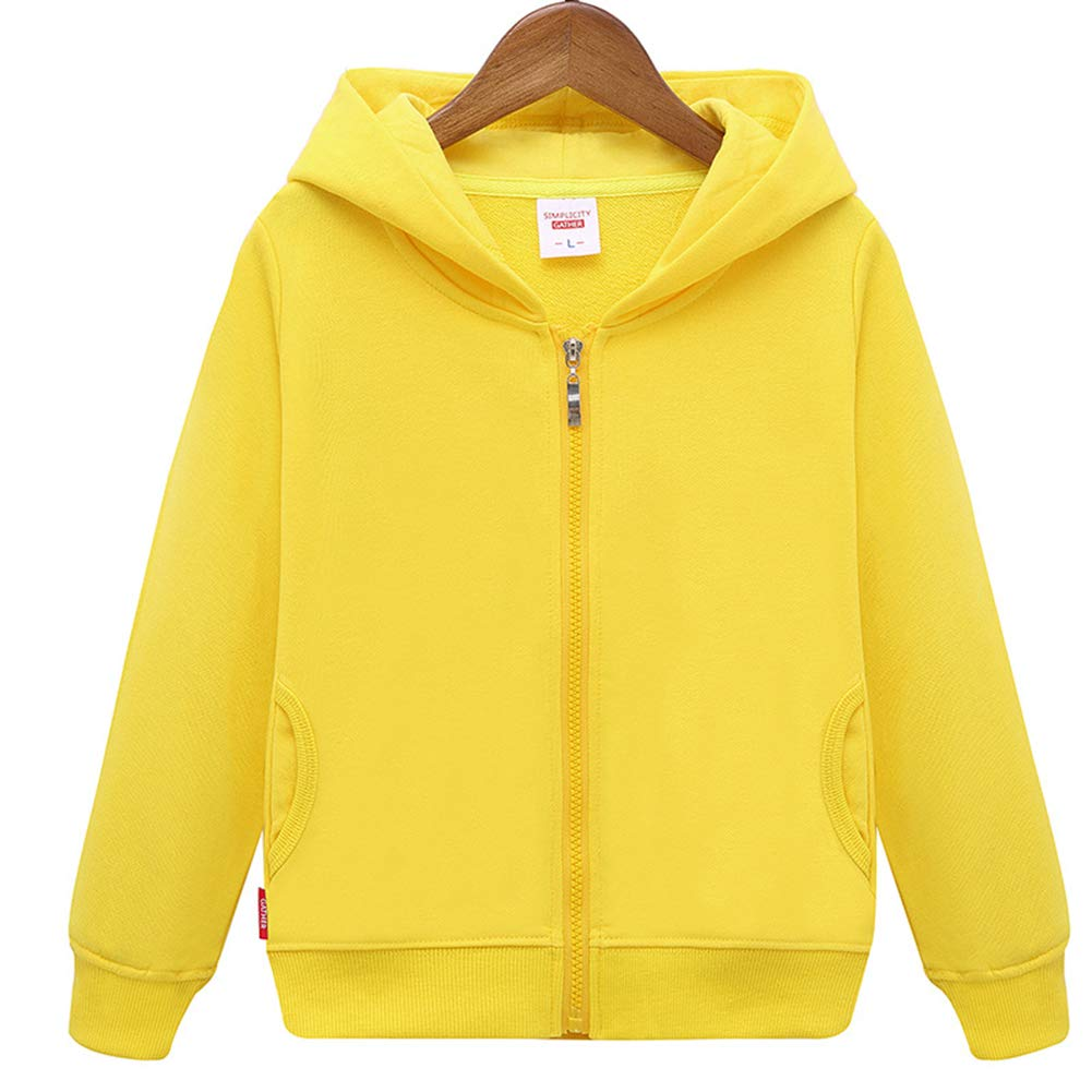 Unisex Children Solid Zip-Up Hooded Sweatshirt Toddler Baby Boys Girls Classic Hoodie Cotton Tops Blouse Yellow by HAXICO