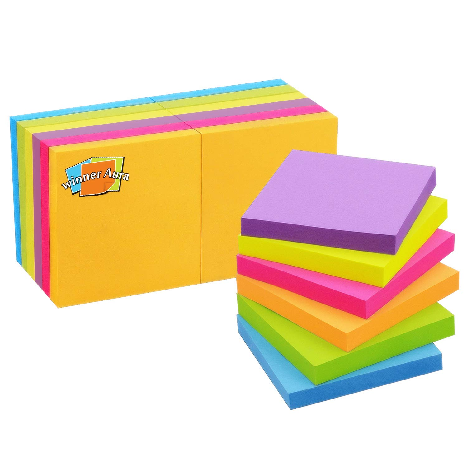 Pop Up Sticky Notes 3x3 inch Bright Colors Self-Stick Pads 12 Pads/Pack 100 Sheets/Pad Total 1200 Sheets by Winner Aura