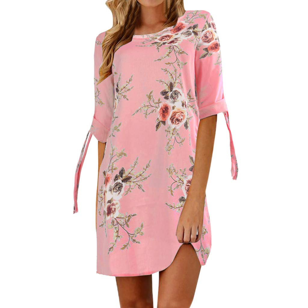 Big Sale! BBesty Women's Floral Print Bowknot Mid Sleeves Cocktail T-Neck Mini Dress Casual Party Dress Pink