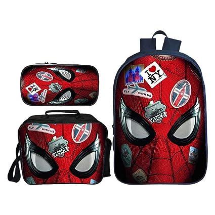 """Marvel Spider-Man 15/"""" Backpack School Boys Kids Book Bag 4 pcs Stationary Set"""