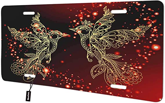 Lovely Bird Dancing in The Fire Love Decorative License Plates for Front of Car Vanity Plate for Men Women Alumium 6x12 Inch Beabes Phoenix Artistic Bird Front License Plate Cover