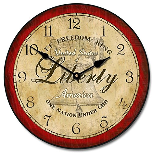 Liberty Wall Clock, Available in 8 sizes, Most Sizes Ship 2-3 days, Whisper Quiet. ()