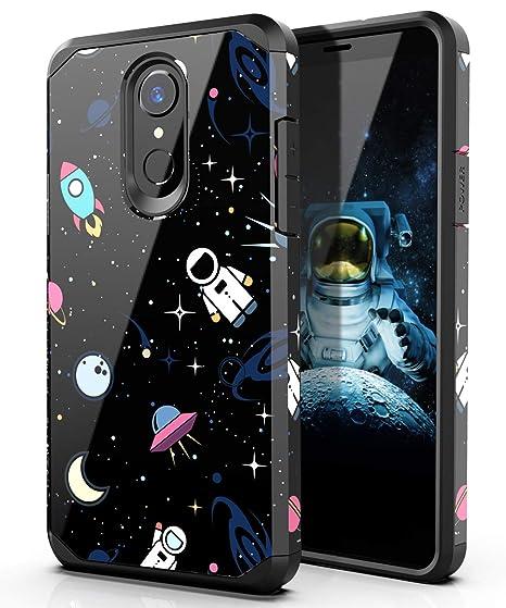 PBRO LG Stylo 4 Phone Case/LG Stylo 4 Case/LG Q Stylus Case,Cute Astronaut  Case Dual Layer Soft Silicone & Hard Back Cover Heavy Duty PC+TPU