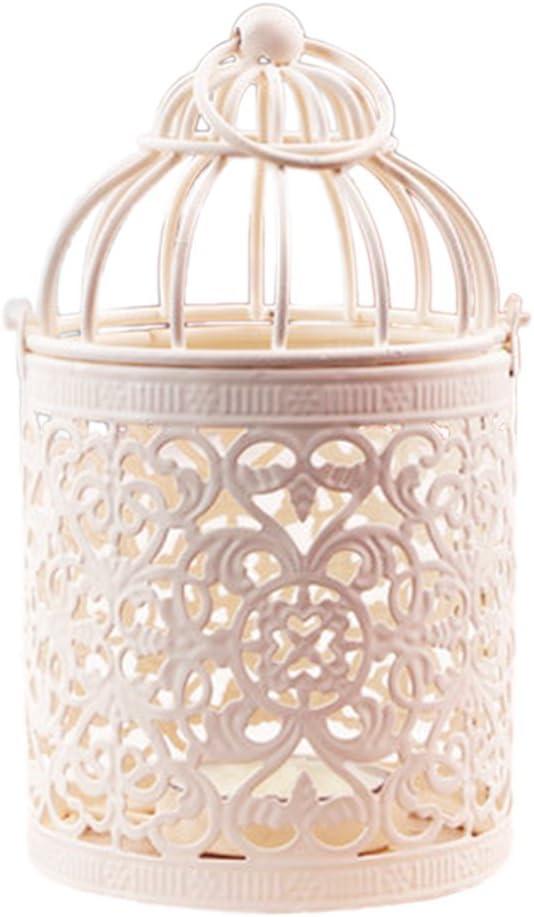 Laat - Candelero, farol con forma de jaula de pájaros, de metal, para vela flotante, candelero creativo, romántico, farol para colgar, para el hogar, decoración de boda, hierro, estilo 2, 8X8X14CM