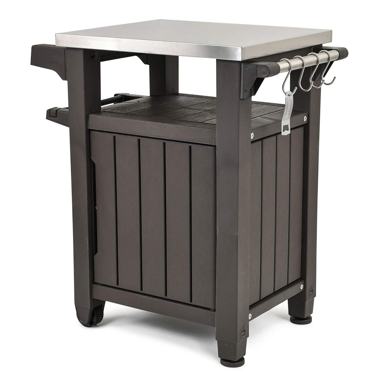STS SUPPLIES LTD Resin Patio Service Station BBQ Prep Station Serving Work Grill Outdoor Grilling Storage On Wheels Side Rolling Furniture & E Book by Easy2Find.