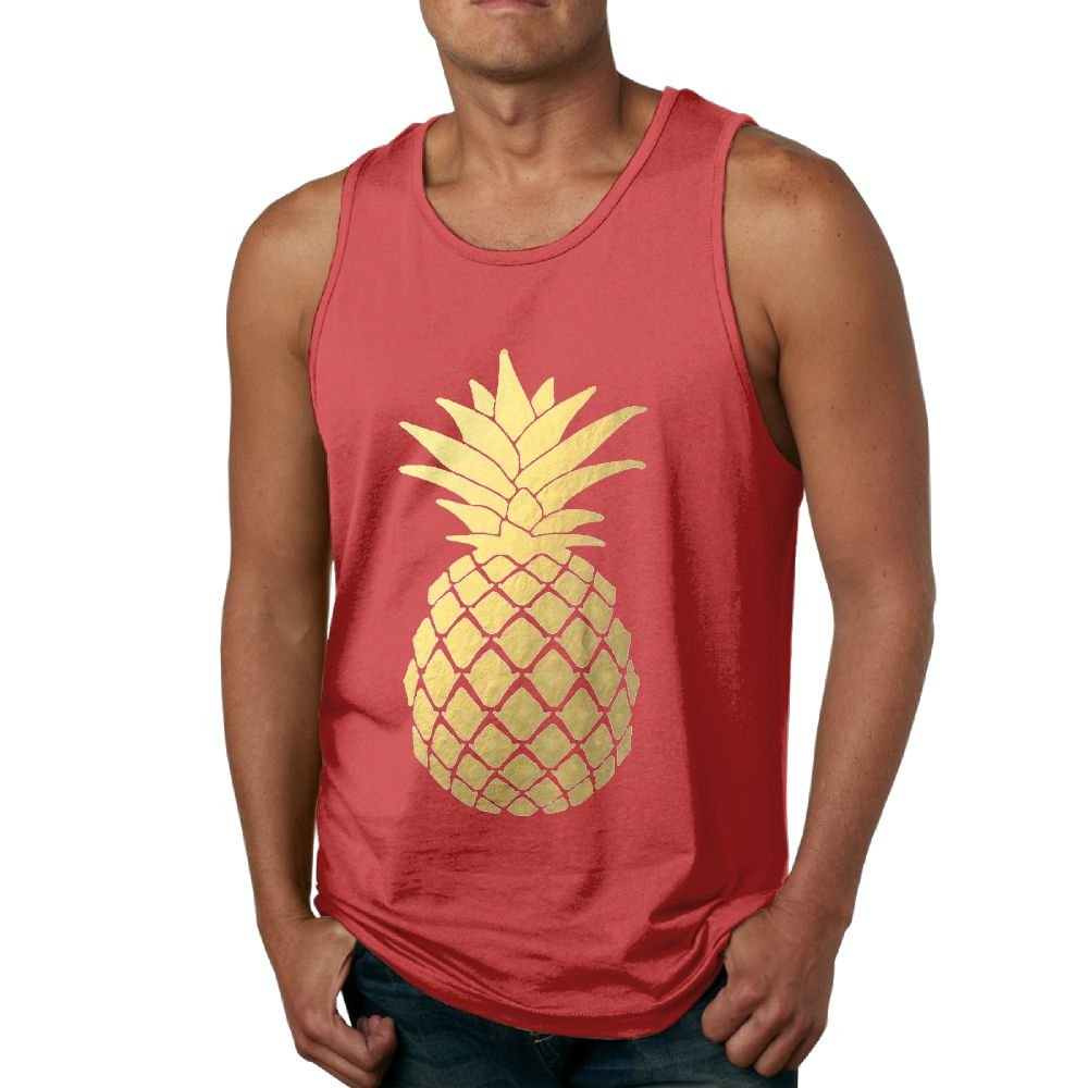 Gold Foil Pineapple Men's Workout Bodybuilding Tank Top Sleeveless Shirts