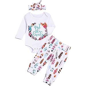Floral Trousers Rabbit Ear Headband Clothes Set BOBORA Newborn Baby Girls Isnt She Lovely Long Sleeve Romper