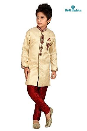 f4c03bc47 KIDS NEW WEDDING DESIGNER JACKET INDO WESTERN PARTY WEAR INDIAN KURTA PAJAMA  PAKISTANI SHERWANI - GOLDEN (14 - 15 YEARS): Amazon.co.uk: Clothing