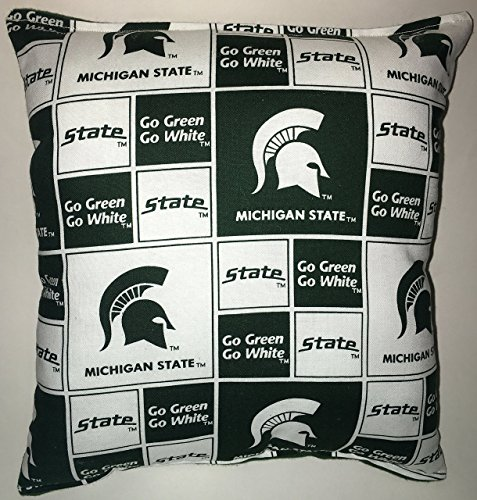"Spartan Pillow Michigan State Football Pillow Pillow NCAA HANDMADE In USA Pillow is approximately 10"" X 11"