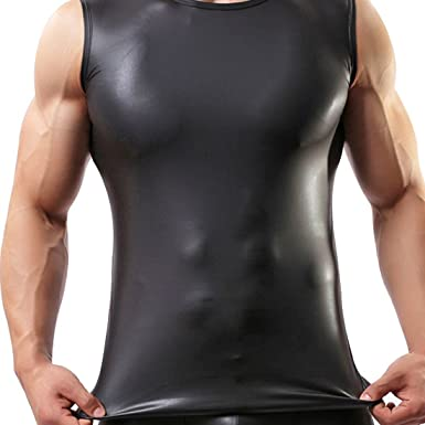 fd709fecab6ae iEFiEL Mens Faux Leather Sleeveless Nightwear Tank Tops Undershirt Fitness  Clubwear Black  Amazon.co.uk  Clothing